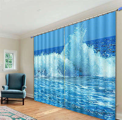 Blue Waves Were Coming 3D Curtain Blockout Photo Print Curtains Fabric Window