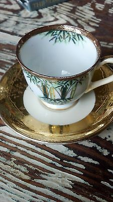 Pretty Antique Liberty China,occupied Japan miniature cup/ saucer/ Gold & bamboo