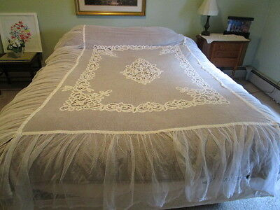 Antique 1920 Vintage Battenberg Net Lace Bedspread w Net Tulle