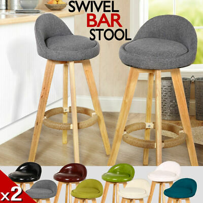 2 x Wooden Bar Stools Swivel Padded Leather / Fabric Seat Dining Chairs Kitchen