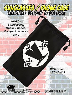 MADNESS sunglasses / phone case. soft pouch. Ska 2 tone. EXCLUSIVE