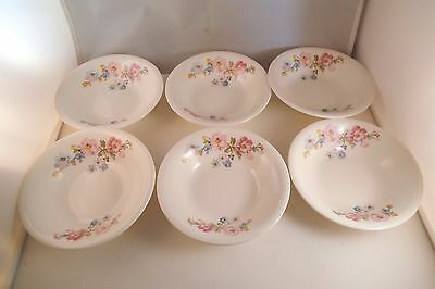Vintage Edwin Knowles Semi Vitreous China Set of 6 Berry Bowls Pink Flowers
