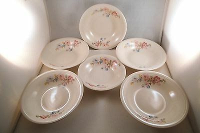 Vintage Edwin Knowles Semi Vitreous China Set of 5 Cereal Bowls Pink Flower