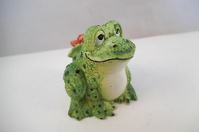 Resin Black Spotted Frog Figurine Butterfly Lid 1995