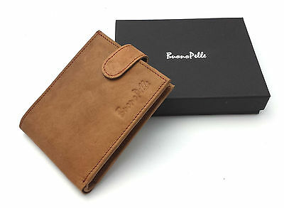 Mens Rfid Blocking Designer Buono Pelle Genuine Real Soft Leather Wallet