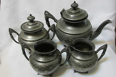 Vintage 4 Pcs Empire MFG CO Quadruple Plate#3 Tea Pot Set Sugar Bowl And Creamer