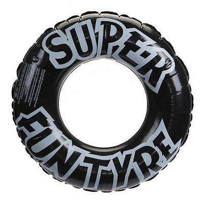 "36"" Super Fun Tyre Inflatable Black Tyre Rubber Swim Ring Holiday Pool Fun"