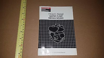 2001-2007 Honda Water Pump Wh15 Wh20 Wh 15 20 X Owners Manual Part# 31Yb7721