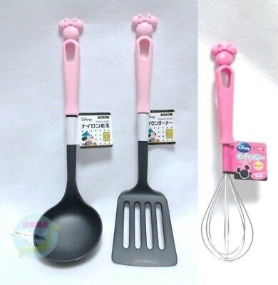 Disney KAWAII Minnie Mouse Nylon Cooking Turner & Ladle & Whisk Made in JAPAN