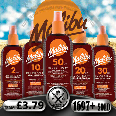 MALIBU SUN PROTECTION 100ml 200ml MEDIUM HIGH LOW DRY OIL SPRAYS ALL SPF STOCK