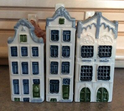 GOEDEWAEGEN :: Trio (3) DUTCH CANAL HOUSES Poly Delft Handpainted HOLLAND NR!