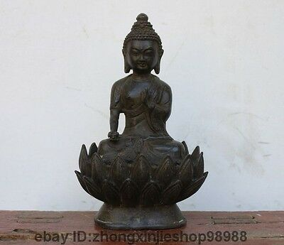 "11"" China Tibet Buddhism old Bronze Copper lotus flower Sakyamuni Buddha Statue"
