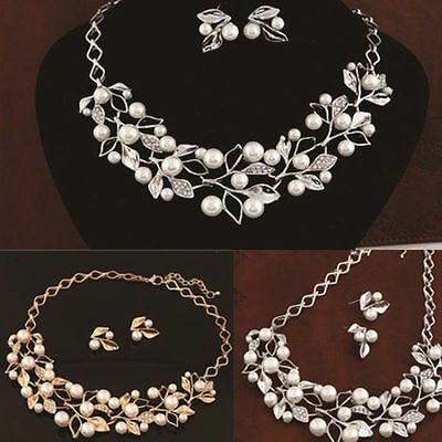 Earrings Necklace Silver Plated Bridal Jewelry New Gold Women Crystal Pearl Set