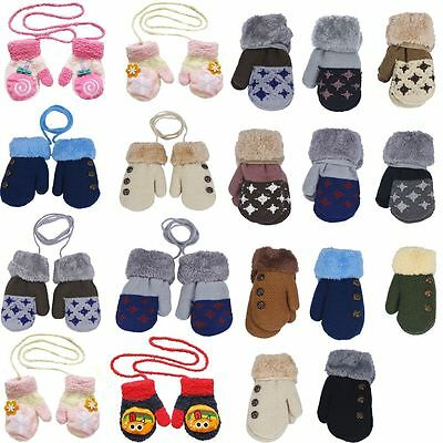 Winter Cotton Baby Knitted Gloves Full Finger Mittens With Rope for 0-12 Month