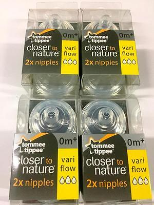 Tommee Tippee Nipples, NEW~Variable Flow.8-Count.2 nipples per pack..Sealed~SKU3