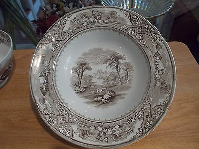 """Antique Brown Transferware """"COUNTRY SCENERY"""" 9"""" Soup Bowl - Cows, Sheep, Castle"""