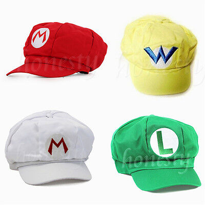 New Fashion Adult Size Hat Cap Luigi Super Mario Bros Cosplay Baseball Costume