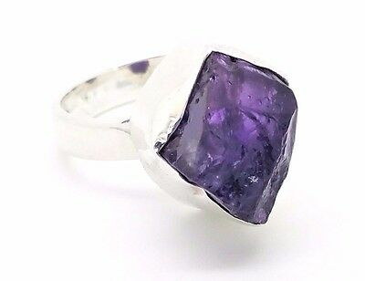 Rough Amethyst & 925 Sterling Silver Ring (+ Gift Bag) UK Size L1/2, M, P1/2