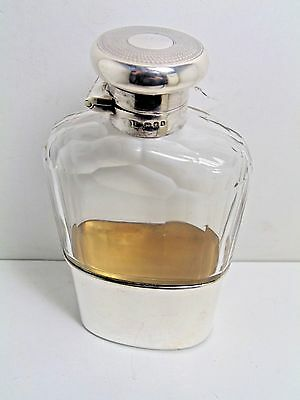 Vintage Sterling Silver And Cut Glass Hip Flask 1924