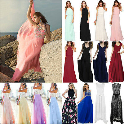 Women Lace Formal Prom Dress Cocktail Party Ball Gown Evening Bridesmaid Dresses