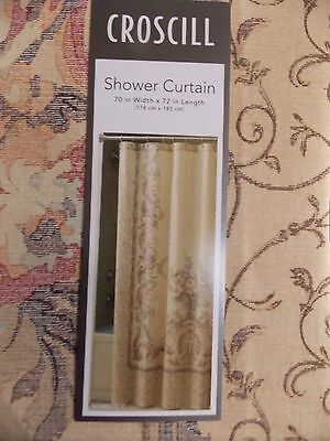 New Croscill Normandy Floral Scroll Fabric Shower Curtain