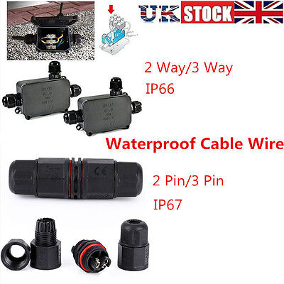 2/3 Way 2/3Pin Junction Box Waterproof IP66 IP67 Cable Wire Connector Protection