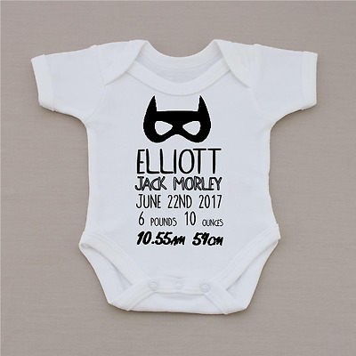 PERSONALISED boys bat keepsake baby clothing vest babygrow BABY GIFT baby shower