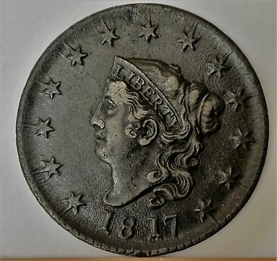 1817 Coronet Head Large Cent - 13 Stars  Awesome Condition - Rare