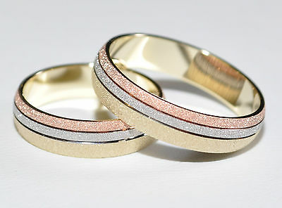 1 Pair Wedding rings - Gold 333 - Tricolor - Widths 4 - 8mm to choose