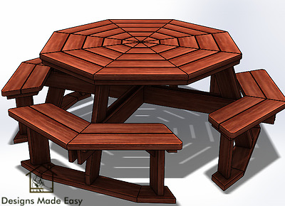Octagon Picnic Table Easy Woodworking Design Plans 03