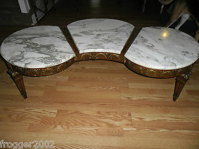 MID-CENTURY~Italian Hollywood Regency Carved Gilt Wood Gesso Marble Coffee Table