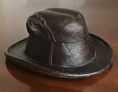A 19th Century Swiss Carved Wood Inkwell In The Form Of A Hat, 13cm Wide.