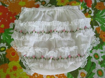 Vintage Baby Cloth Diaper Cover, Plastic Pants, Ruffled, Pink-Size Medium
