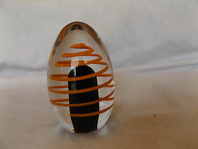 "Vintage Swedish Signed & Numbered Art Glass Paperweight 4"" Orange Swirl"