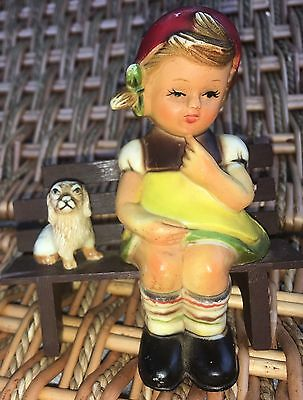 Girl And Puppy Sitting On A Bench Hard Plastic Made In Hong Kong