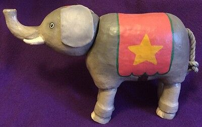 Unique Vintage Paper Mache Elephant Articulated Moving Movable Joints Circus