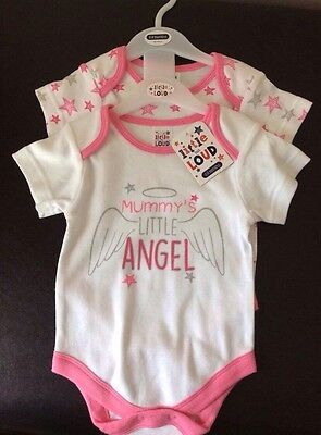 Pack Of 2 Baby Girls Vests Mummy's Little Angel 6-9 Months New With Tags