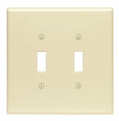 (2) Leviton 86109 2-Gang Toggle Switch Wall Plate Oversized, Thermoset - Ivory