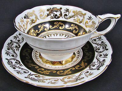 Royal Stafford Gold Scroll Work Black & White Tea Cup And Saucer