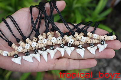 10 Shark Tooth Necklaces Sharks Teeth with PALE COCONUT Bone Beads Wholesale