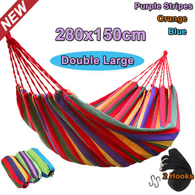 Outdoor Double Hammock Bed Swinging Travel Rope Durable +Tree Hanging Strap Hook