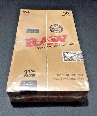 """Authentic Raw Classic 1 1/4"""" Rolling Papers 24 Packs Of 50 **Free Shipping**"""