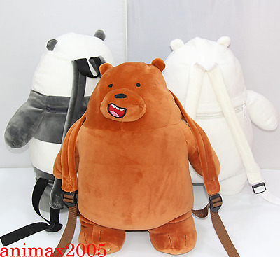 We Bare Bears Plush Beam Pocket Grizzly Panda Ice Bear Plush Backpack Toy Doll
