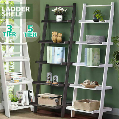 3/5 Tier Wooden Wall Rack Leaning Ladder Shelf Unit Bookcase Display Home Decor