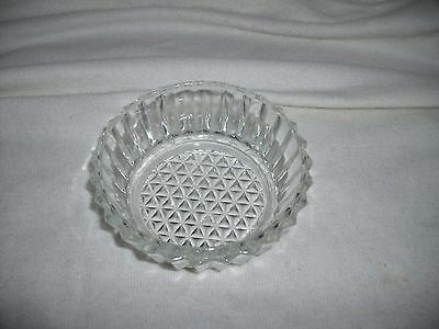 Pressed Glass Clear Vintage Ribbed Side Condiment, Candy Dish