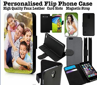 Personalised Phone Case Custom Printed Initial Name Photo Faux Leather Cover