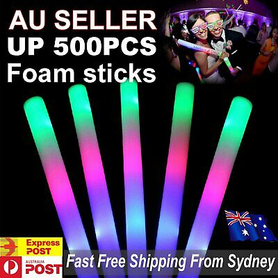 5-500pcs LED Foam Sticks RGB Thunder Wand Glow Sticks Flashing Light Rave Party