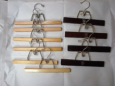 Vintage Wooden Pant or Skirt Hangers, Lot of 10