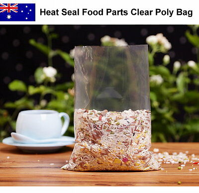 200pcs Food Grade Heat Seal Various Sizes Clear Poly Food Parts Plastic Bag LDPE