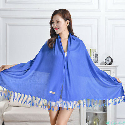 Women Soft PASHMINA SILK Classic Solid Cashmere Wool SHAWL Scarf Stole WRAP GOOD